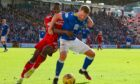 James Brown in action against Aberdeen.