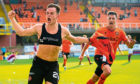 DUNDEE, SCOTLAND - SEPTEMBER 21: Dundee Utd's Lawrence Shankland celebrates his second goal during the Ladbrokes Championship match between Dundee Utd and Arbroath at Tannadice Stadium on September 21, 2019 in Dundee, Scotland. (Photo by Ross MacDonald / SNS Group)