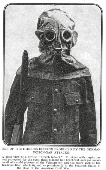 A soldier in the Battle of Loos wearing a gas mask.