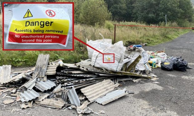 The dumped rubbish includes asbestos.