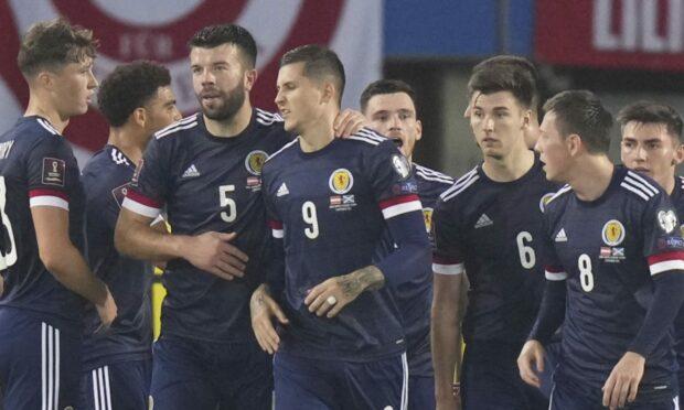 Scotland celebrate their penalty opener.