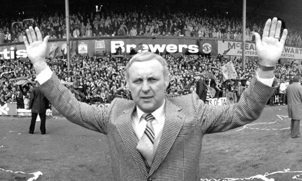 Jim McLean, Dundee United manager celebrating after Dundee United win the league at Dens.