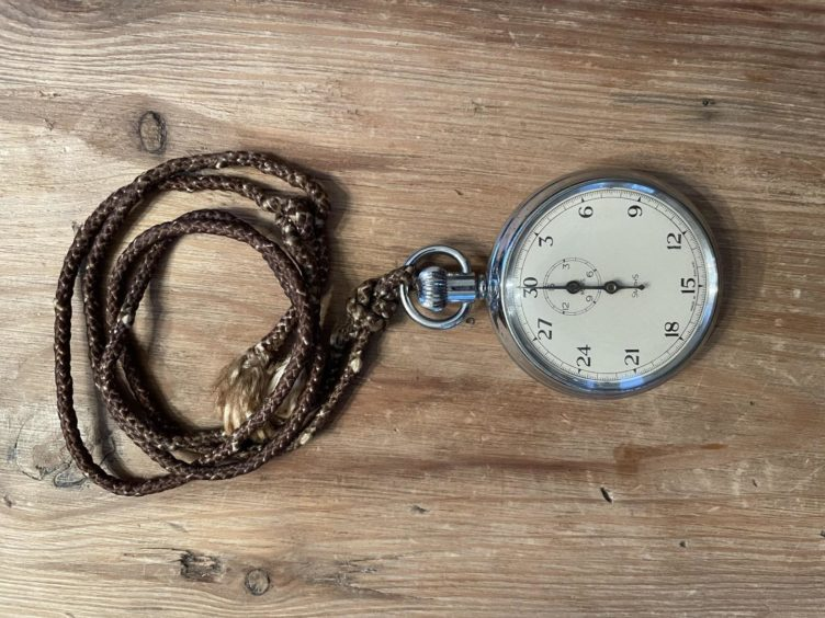 The stopwatch used by Emma Dawson's dad, Olly McLaren, in his racing days.