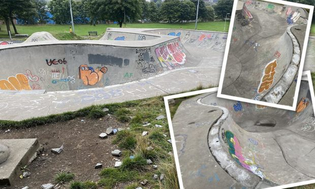 Vandals destroyed a large number of specially produced copings at Fife's largest skatepark.