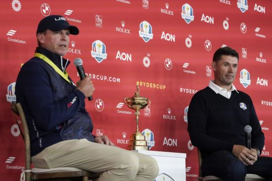 Steve Stricker Padraig Harrington at the welcome press conference.