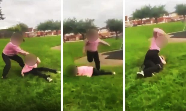 The video shows the girl being dragged by her hair, punched and kicked.