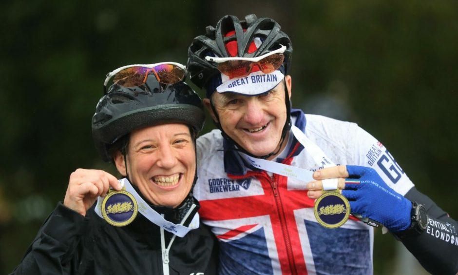 Jo & Rik Millin ,from Guildford,who celebrated their 10th wedding anniversary by cycling at the event where they got married on the starting line in 2011.