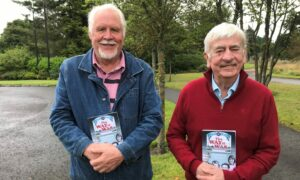 Ted Brocklebank and Jimmy Spankie with their new book about Grampian TV