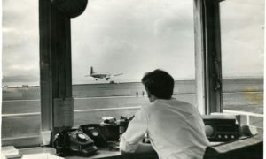 The air traffic controller's view of the Autair 728 Hawker-Siddeley landing at Riverside in 1966.