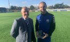 Sean Dillon received a trophy for making 150 appearances for Montrose from Director Brian Petrie.