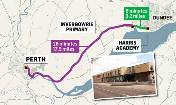 Invergowrie Primary School could remain part of the Harris Academy catchment area under new proposals.