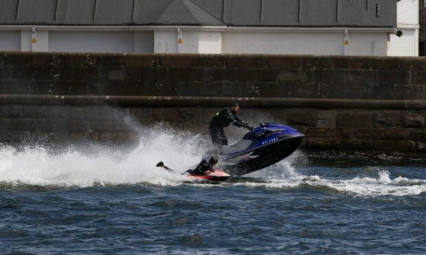 Jet-skier at Broughty Ferry harbour.