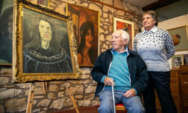 Pete Cura Snr and his wife Louise with a self portrait of their late son Pete at The Gallery, East Burnside, Cupar
