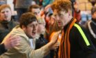 Simon Murray with Dundee United fans after his side was relegated at Dens Park in 2016.