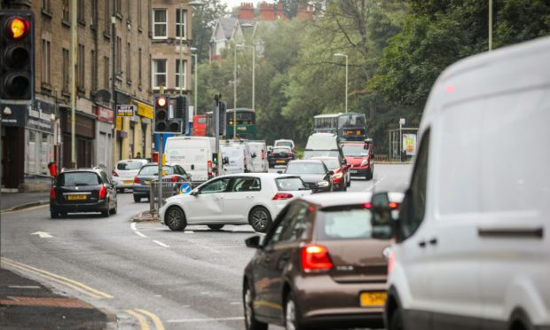 Lochee Road, one of Tayside and Scotland's worst roads for air pollution. congested with traffic
