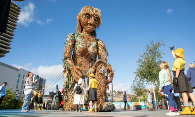 WATCH: Storm, Scotland's largest puppet, has visited Dundee