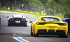 Ferraris on track at the Drive to Maggie's event at Knockhill race circuit. Pic: Blair Dingwall/DCT Media.