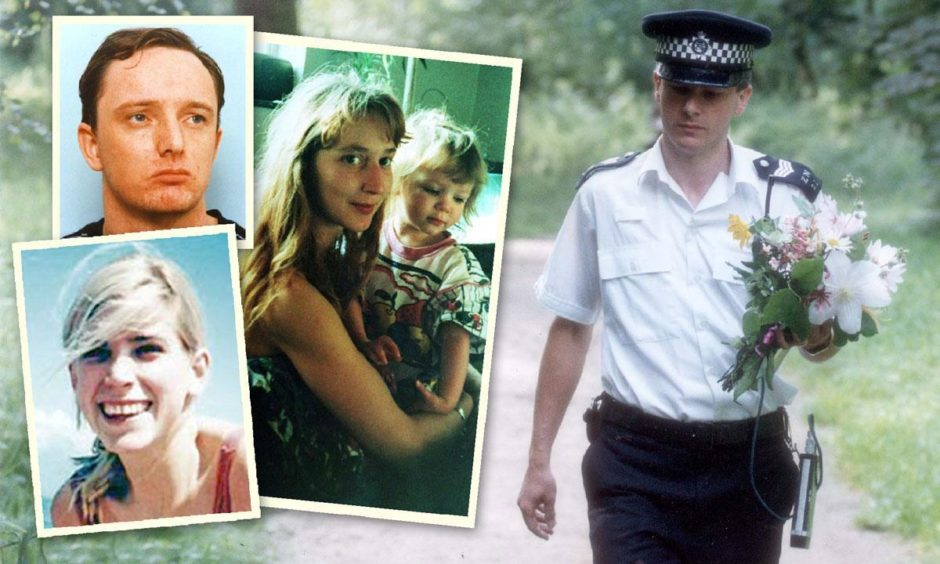 A police officer with a floral tribute at Wimbledon Common and, inset from top, killer Robert Napper and his victims, Rachel Nickell, Samantha Bissett and her daughter Jazmine. Photos by Shutterstock.