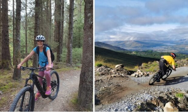 Gayle checks out the mountain bike trails at Nevis Range while a more adventurous biker rides the new Blue Doon.
