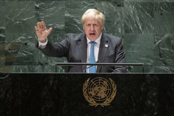 British Prime Minister Boris Johnson addresses the 76th Session of the United Nations General Assembly.
