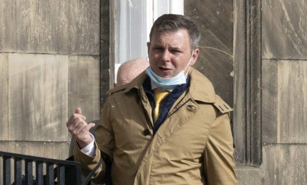 Jamie Hunter arrives at Perth Sheriff Court.