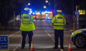 The road was closed after a two vehicle collision