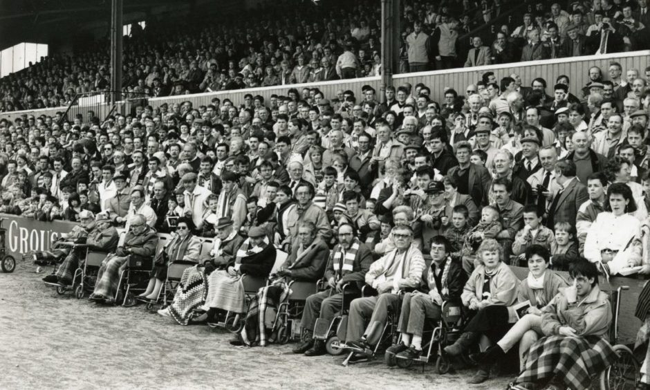 Spectators at the final game at Muirton Park.