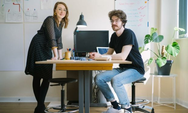 Stephanie Crowe  and Kevin Sinclair of Muckle Studios in Dundee.