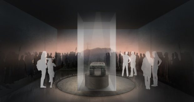 An artist's impression of the stone in a refreshed Perth City Hall.