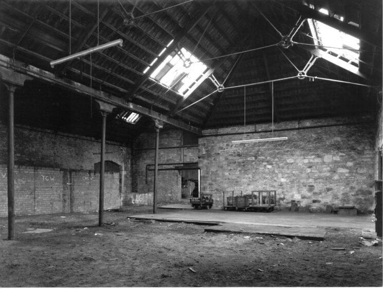 The derelict interior of Verdant Works in 1991.