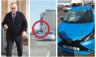 Ewen MacDonald left the car written off after jumping on it during a road rage incident.