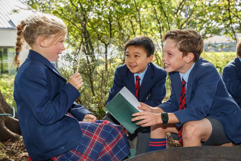 St Leonards pupils outside