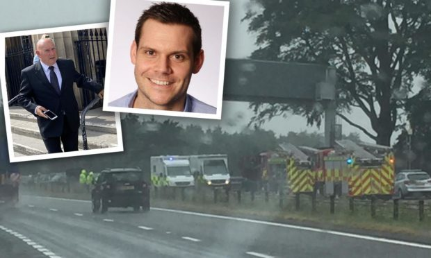 Brian Raitt, left, has been jailed for causing the 'catastrophic' crash on the A9 near Broxden. G4S boss Chris Burr, right, was driving the other car.