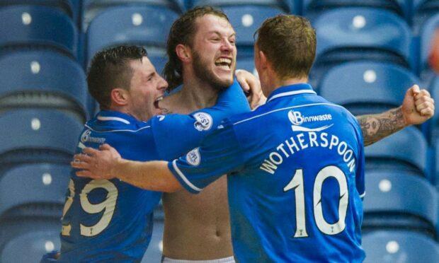 Stevie May celebrates his semi-final winner against Aberdeen.