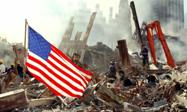 Searching through the rubble at Ground Zero after the 9/11 attacks