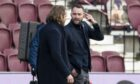 Robbie Neilson and James McPake exchange words at Tynecastle last season.