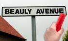 A street sign for Beauly Avenue with, inset, someone holding a firework