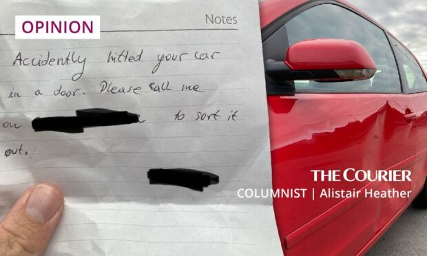 A bashed car, and a sad note.