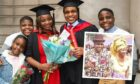 Elsie and Bulabari Francis with their family after graduating