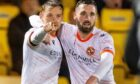 Goal hero Peter Pawlett celebrates drawing United level at Livingston with Nicky Clark.