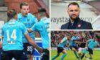 Jason Cummings, James McPake and the Dundee defence.