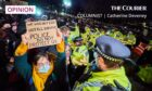 Placards make clear the anger of women towards the police following the murder of Sarah Everard. Shutterstock.