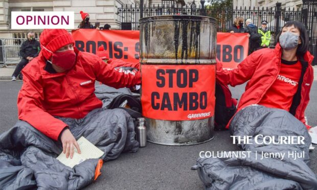 Greenpeace activists at a Downing Street protest against the Cambo oilfield.