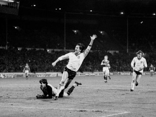 Jubilant Gary Lineker after scoring his first goal for England at Wembley (PA)