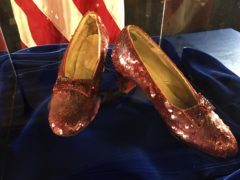 A pair of ruby slippers once worn by actress Judy Garland in The Wizard Of Oz are displayed at a news conference at the FBI office in Brooklyn Centre, Minneapolis (Jeff Baenen/AP)