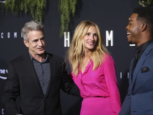 Dermot Mulroney, Julia Roberts and Stephan James arrive at the Los Angeles premiere of Homecoming (Danny Moloshok/Invision/AP)