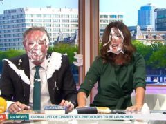 Piers Morgan gets pied in the face on Good Morning Britain (ITV/Screengrab)