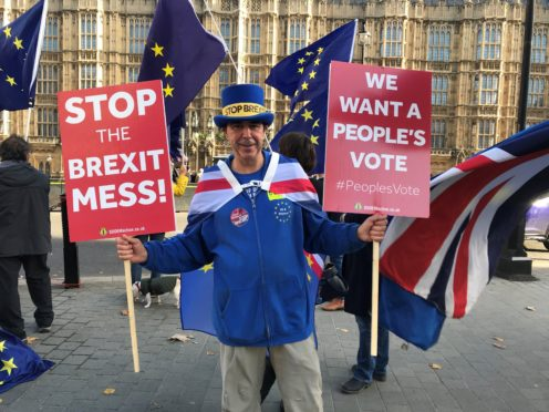 Steve Bray regularly protests against Brexit outside the Houses of Parliament (Rick Goodman/PA)