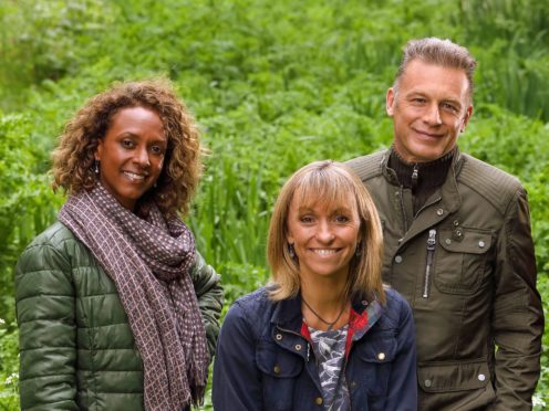 Winterwatch presenters, left to right, Gillian Burke, Michaela Strachan and Chris Packham (Glenn Dearing/PA)