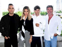 Robbie Williams, Ayda Field, Louis Tomlinson and Simon Cowell (Ian West/PA)